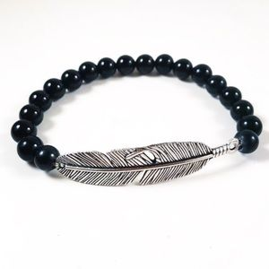 Genuine onyx silver plated feather bead bracelet